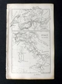 Cornwell & Dower 1849 Antique Map. Switzerland and Italy